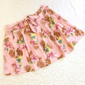 Forever 21 Skirt Large Pink Floral Hawaiian Print